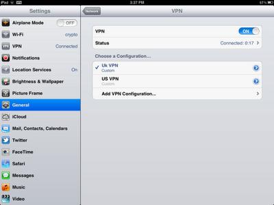 iPad Settings Page